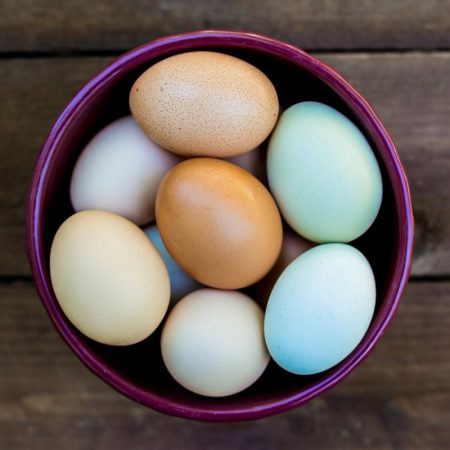 Colorful Eggs in bowl